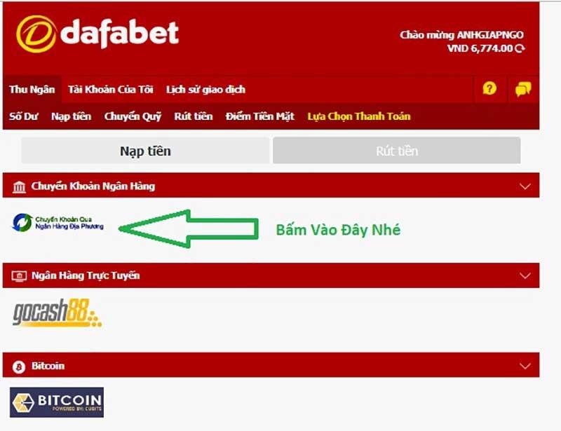 Deposit Instructions at Dafabet